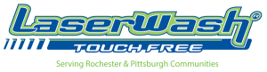 Touch free laser wash logo